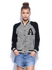 MANGO Women Black & White Langelles Jacket