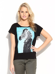 MANGO Women Black Animal Head T-shirt