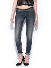 Women Blue Skinny Fit Push-Up Uptown Jeans MANGO