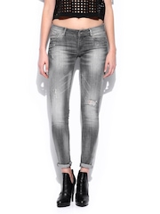 Women Grey Skinny Fit Push-Up Uptown Jeans MANGO