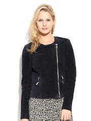 MANGO Women Navy Leather Jacket
