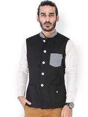 MR BUTTON Men Black Nehru Jacket
