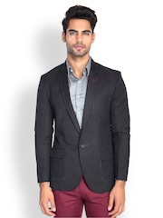 MR BUTTON Men Black Linen Blend Slim Fit Blazer
