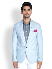 MR BUTTON Men Ice Blue Linen Blazer