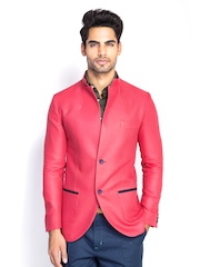MR BUTTON Men Coral Pink Slim Fit Blazer