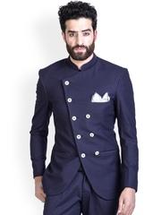 MR BUTTON Men Blue Slim Fit Blazer
