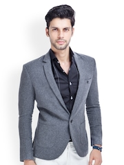 MR BUTTON Men Grey Tweed Single Breasted Blazer