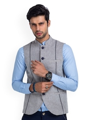 MR BUTTON Men Grey Linen Textured Nehru Jacket