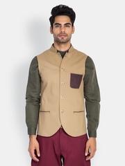 MR BUTTON Men Beige Sleeveless Slim Fit Nehru Jacket