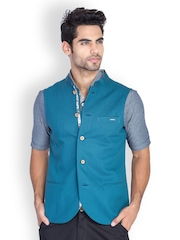 MR BUTTON Men Teal Blue Sleeveless Slim Fit Nehru Jacket