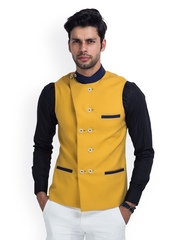 MR BUTTON Men Mustard Yellow Linen Nehru Jacket