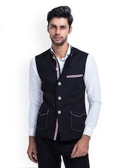 MR BUTTON Men Black Linen Nehru Jacket