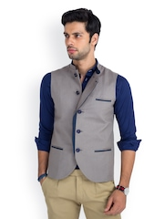 MR BUTTON Men Light Grey Linen Nehru Jacket