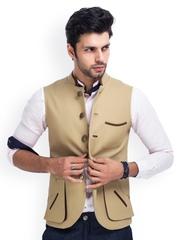 MR BUTTON Men Beige Linen Nehru Jacket