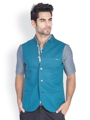 MR BUTTON Men Teal Blue Slim Fit Nehru Jacket