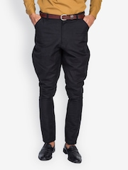 MR BUTTON Men Black Jodhpuri Pants