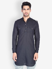 MR BUTTON Men Linen Black Kurta