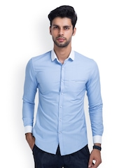 MR BUTTON Men Light Blue Slim Fit Casual Shirt