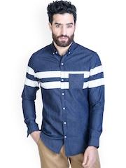MR BUTTON Men Blue Slim Fit Smart Casual Denim Shirt