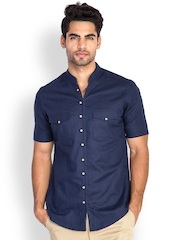 MR BUTTON Men Dark Blue Linen Blend Slim Fit Casual Shirt