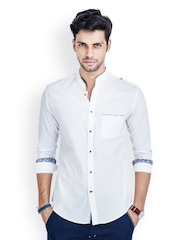 MR BUTTON Men White Slim Fit Casual Shirt