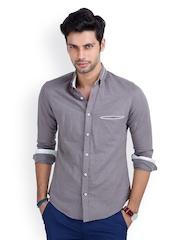 MR BUTTON Men Grey Slim Fit Linen Casual Shirt
