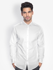 MR BUTTON Men White Slim Fit Formal Shirt