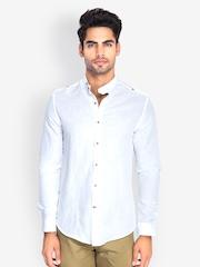 MR BUTTON Men White Slim Fit Casual Shirt