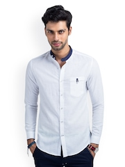MR BUTTON Men White Linen Slim Fit Casual Shirt