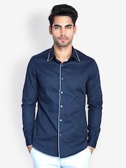 MR BUTTON Men Dark Blue Slim Fit Smart-Casual Shirt
