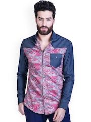 MR BUTTON Men Blue Slim Fit Printed Smart Casual Denim Shirt
