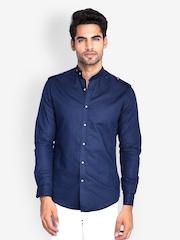 MR BUTTON Men Dark Blue Slim Fit Casual Shirt