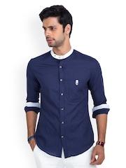 MR BUTTON Men Blue Linen Slim Fit Casual Shirt