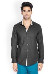 MR BUTTON Men Black Slim Fit Shirt