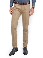 MR BUTTON Men Beige Slim Fit Chino Trousers