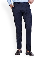 MR BUTTON Men Blue Slim Fit Formal Trousers