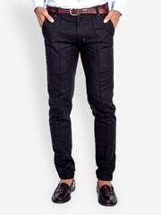 MR BUTTON Men Black Linen Blend Trousers