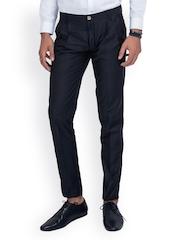 MR BUTTON Men Black Slim Fit Formal Trousers