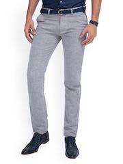 MR BUTTON Men Grey Linen Slim Fit Trousers