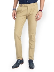 MR BUTTON Men Beige Linen Slim Fit Chino Trousers