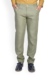 MR BUTTON Men Olive Green Slim Fit Trousers