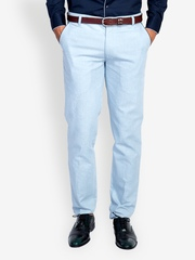 MR BUTTON Men Blue Linen Blend Trousers