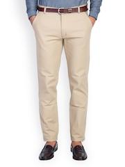 MR BUTTON Men Beige Slim Fit Trousers
