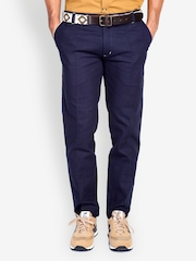 MR BUTTON Men Navy Blue Tapered Fit Trousers