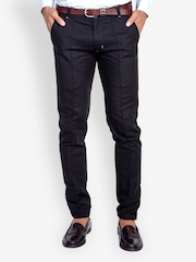 MR BUTTON Men Black Tapered Fit Trousers