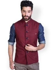 MR BUTTON Men Maroon Nehru Jacket