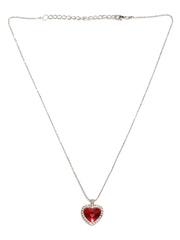 Mahi Red Silver-Plated Swarovski Zirconia Pendant with Chain