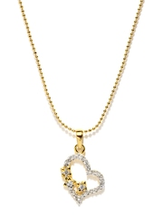 Mahi Gold-Plated Heart Pendant with Chain
