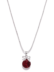 Mahi Silver-Plated & Maroon Pendant with Chain