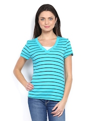 Maine by Debenhams Women Turquoise Blue Striped Top